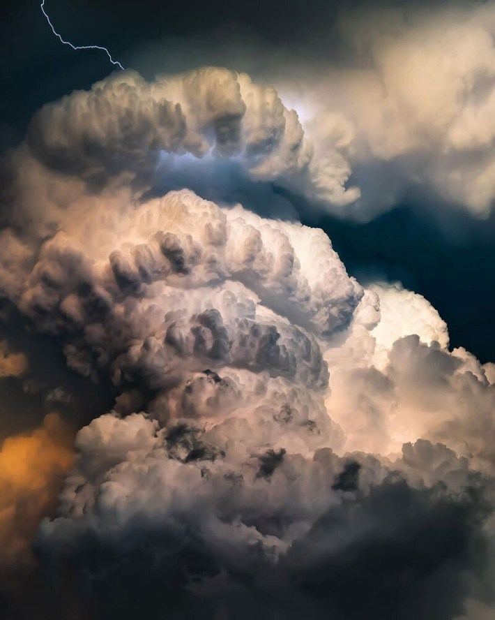 The convective tower of a supercell thunderstorm.