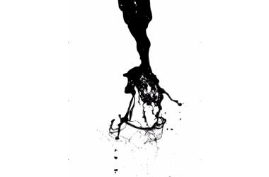 A liquid jet breaks into droplets.