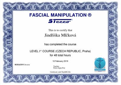 CertifikátSteccoI-2 jindřiška mlčková fyzioterapie polichno