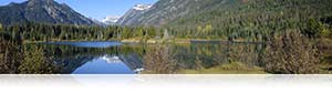 Nikon D3300 panorama photo of mountains and their reflections in water showing special effects