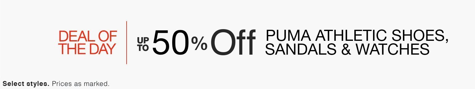 Save Up To 50% Off Puma Athletic Shoes, Sandals, & Watches