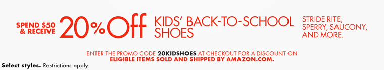 20% Off $50 | Kids' Shoes for Back-to-School