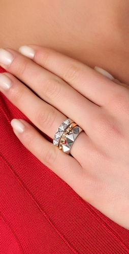 Noir Jewelry Stackable<br /> Pyramid Ring Set