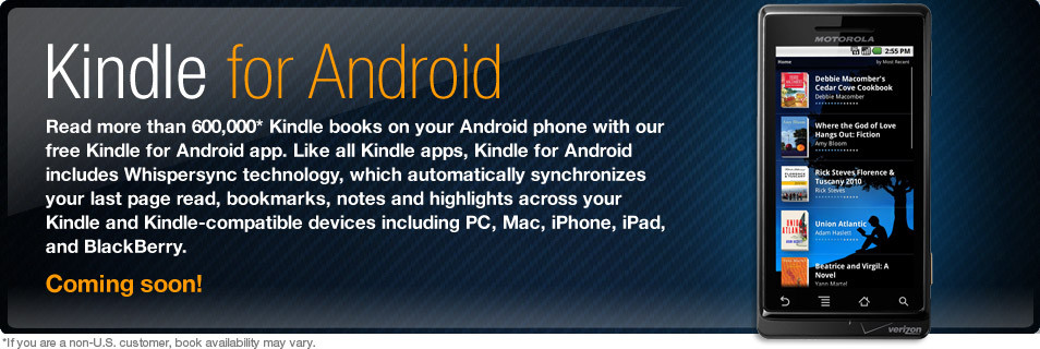 Kindle for Android coming soon