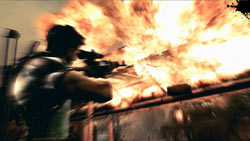 Blowing up a building with a sniper rifle in 'Resident Evil 5' for PC