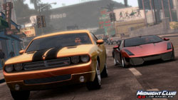 A muscle car & an exotic car racing in 'Midnight Club: Los Angeles'