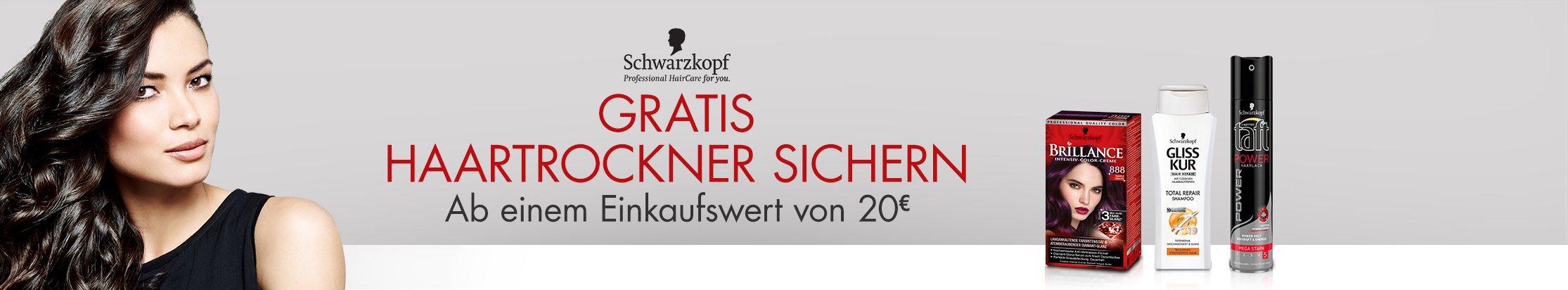 Gratis Haartrockner sichern ab einem EInkaufswert von 20 EUR