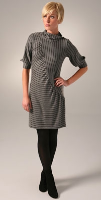 Lewis Cho Striped Asymmetrical Mock Neck Dress