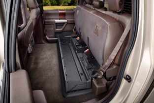 All-new 2017 Ford F-Series Super Duty SuperCab (pictured) and Crew Cab offer a fully flat floor behind the front seats that makes it easy to load large items into the truck, as well as folding rear seats, which fold up to reveal a cargo area.
