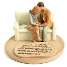 Devoted Praying Couple Figure  -