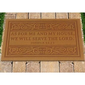 Door Mat, As for Me and My House, Tan   -