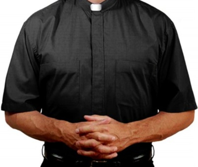 Mens Short Sleeve Clergy Shirt With Tab Collar Black Size 18 5