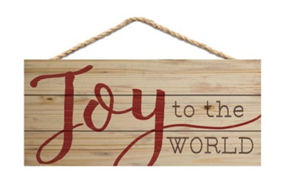 Joy To The World Sign Rustic Red   -