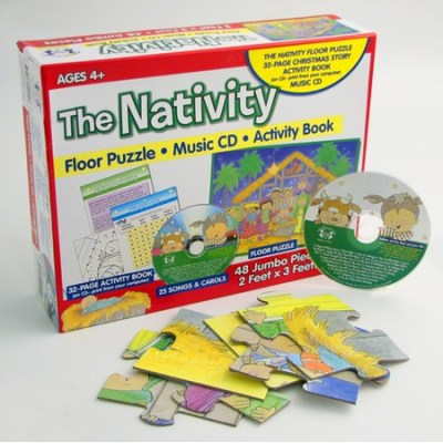 Christmas Nativity puzzle, CD and color book set