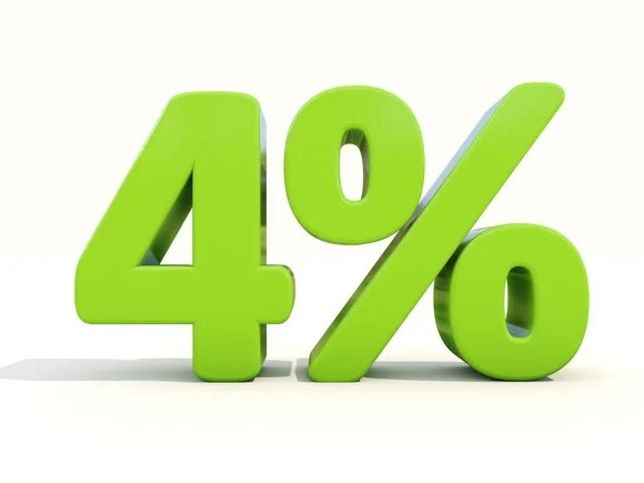 """4%"" represented as 3-D characters in green"