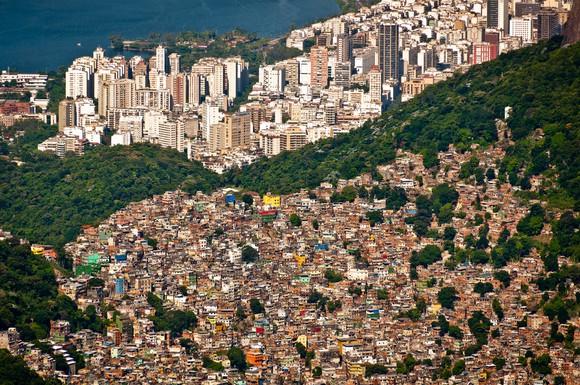 Wealthy and poor neighborhoods of Rio de Janiero shown from above.