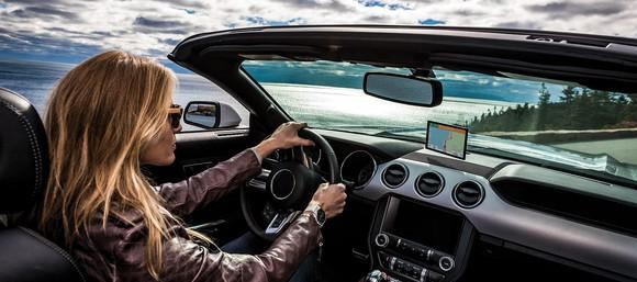 A Garmin GPS in a car.