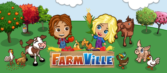 Art for one of Zynga's most popular games, Farmville, showing cartoon farmers and animals around a harvest.
