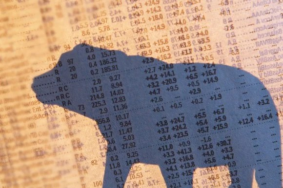 Shadow of a bear on stock quotes page
