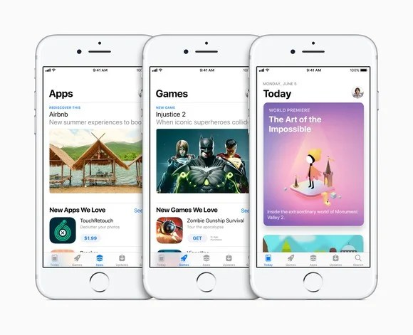 Apple iPhones displaying the company's App Store.