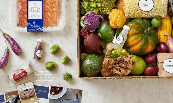 A Blue Apron delivery kit.