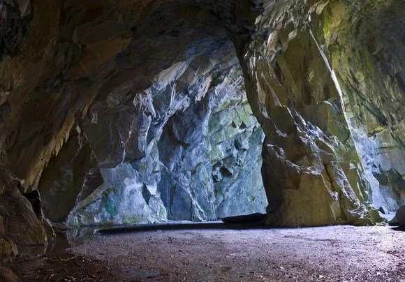Blue-tinged cave in cobalt mine