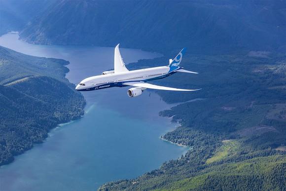 A rendering of a 787-9 in flight