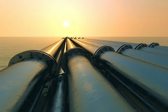 Pipelines going into the water.
