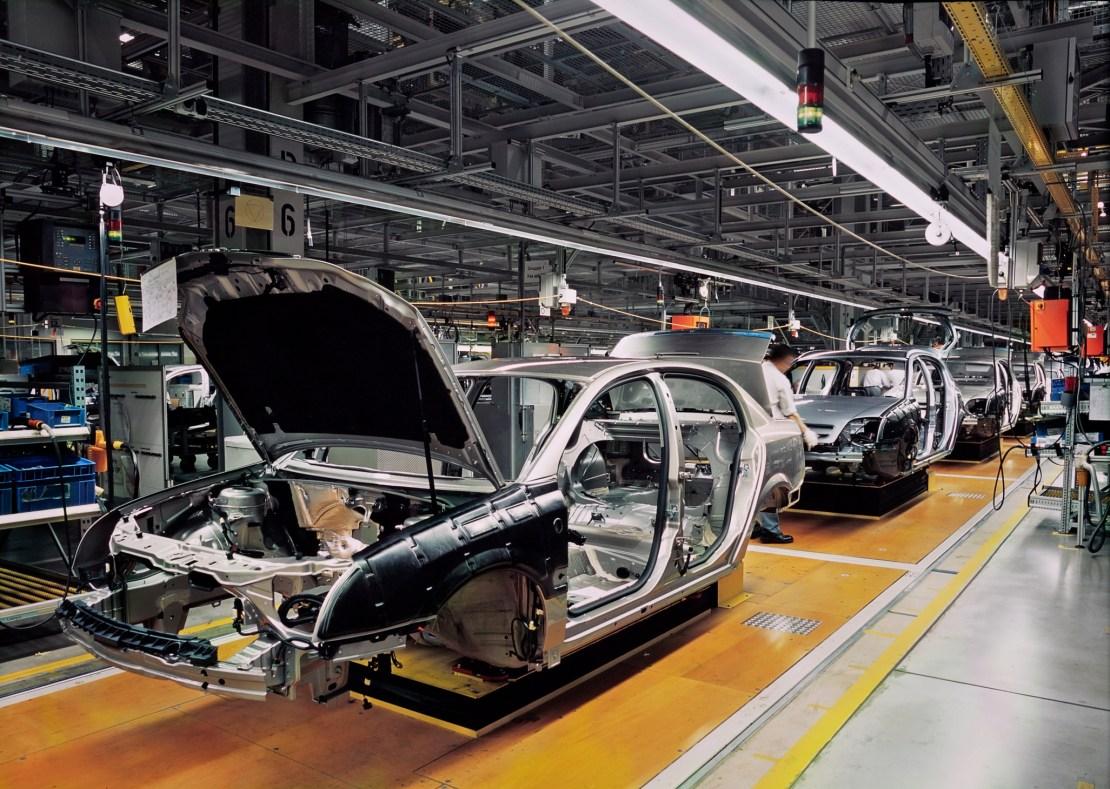 A car production line.