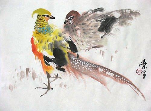 寫意禽鳥畫之三十三 錦雞/ 施榮宣 - 文藝副刊之友網 - udn部落格