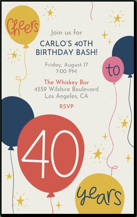 40th birthday invitation evite