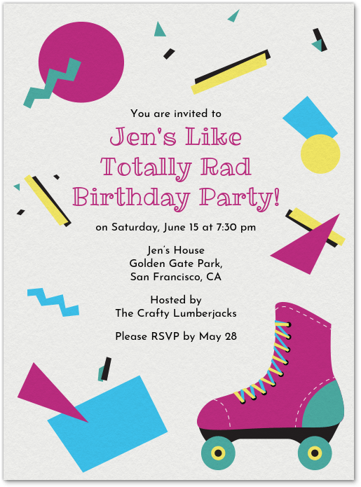 90s themed party invitation evite