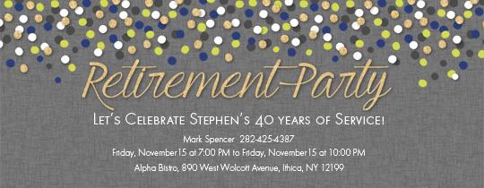 Retirement Confetti Invitation Free