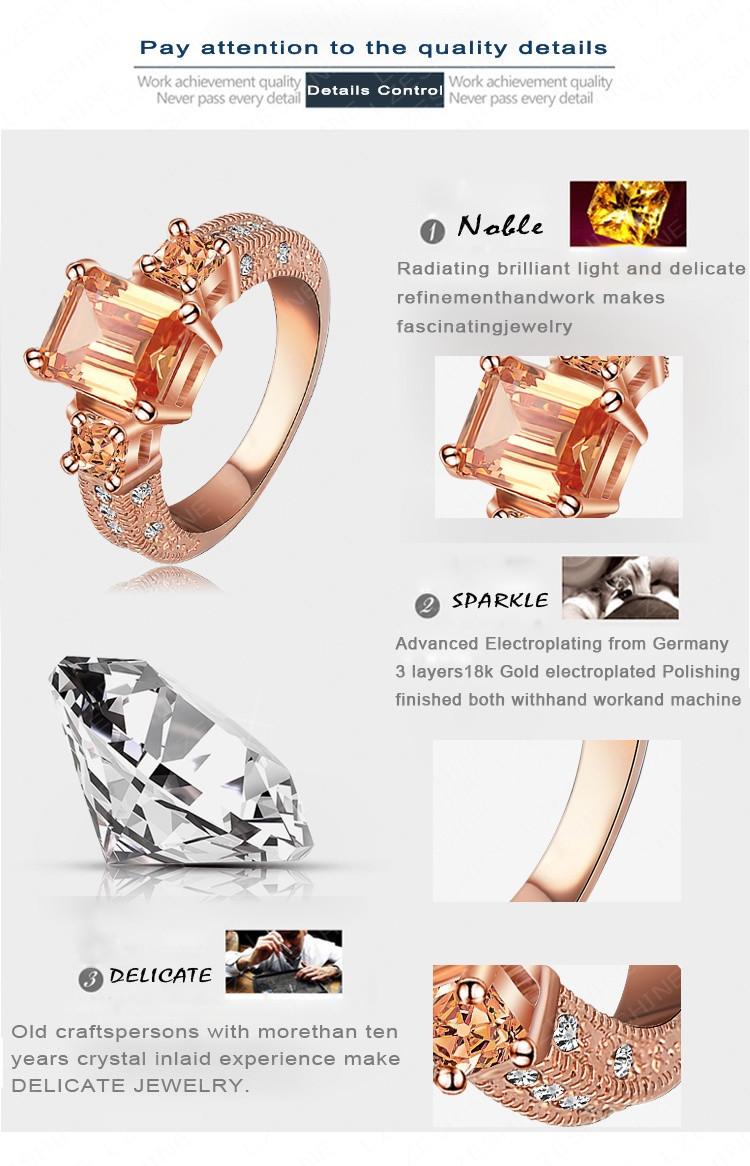 LZESHINE 2016 Beautiful Rectangle Zircon Cutting Ring Rose Gold/Silver Color Women Rings Fashion Jewelry Wholesale Ri-HQ1018
