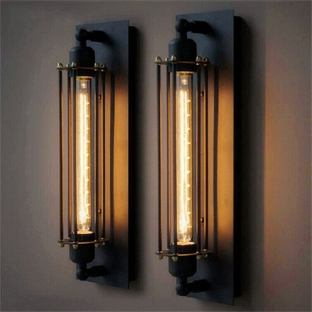 T300 Industrial Rustic Long Black Wall Sconce Plate Lamp ... on Rustic Wall Sconces id=48229