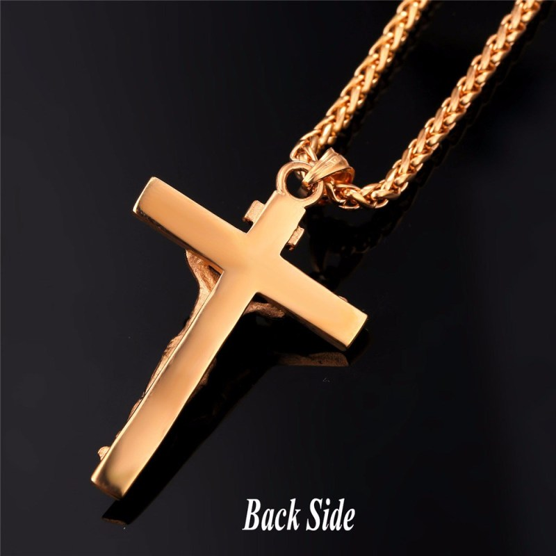 U7 Cross Necklace INRI Crucifix Jesus Piece Pendant Gold Color Stainless Steel Men Chain Catholic Jewelry Christmas Gifts P624