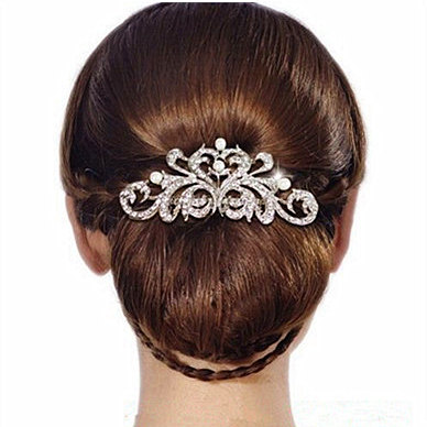 new design pearl bridal hair jewelry charm silver plated crystal hair bs hairpin wedding hair