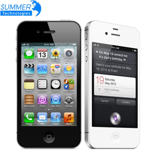 """Оригинальный Разблокирована Apple, iphone 4S Сотовые телефоны 3.5 """"сетчатки IPS 16 ГБ ROM Мобильный Телефон 8MP 1080 P WCDMA GPS IOS Используется"""