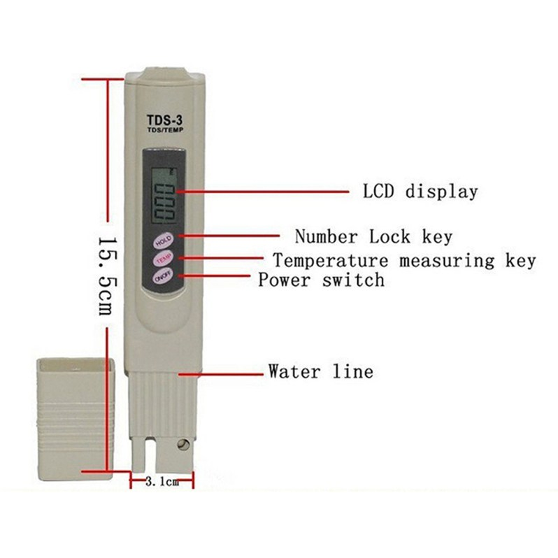 Healthy highly efficient and accurate Digital PH Meter + TDSTester Water Analysis Monitor for Aquarium Pool #LO