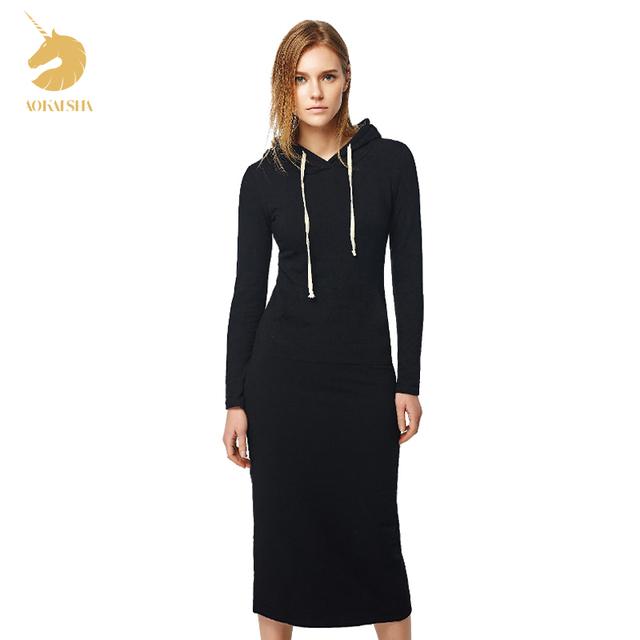 Новый 2016 Осенью и Зимой Женщины Длиной до пола Dress Casual Бедра Длинные Стиль Капюшоном Dress Леди Утолщение DressM15322