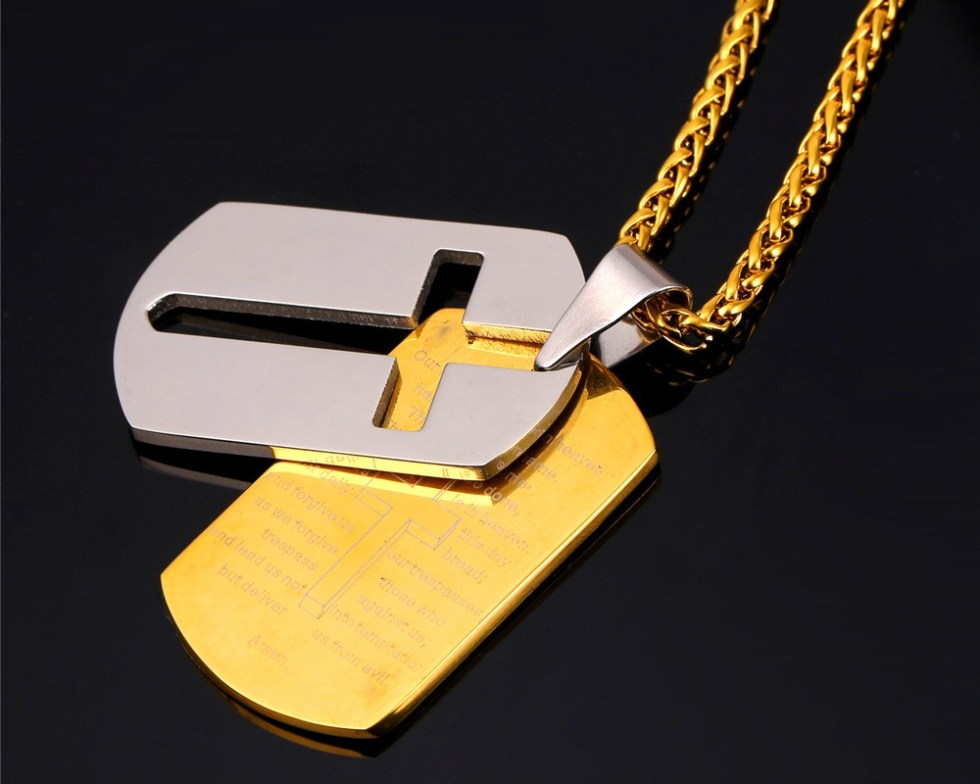 U7 Cross Necklaces Pendants Christian Jewelry Bible Lords Prayer Dog Tags Gold Color Stainless Steel Christmas Gift For Men P682