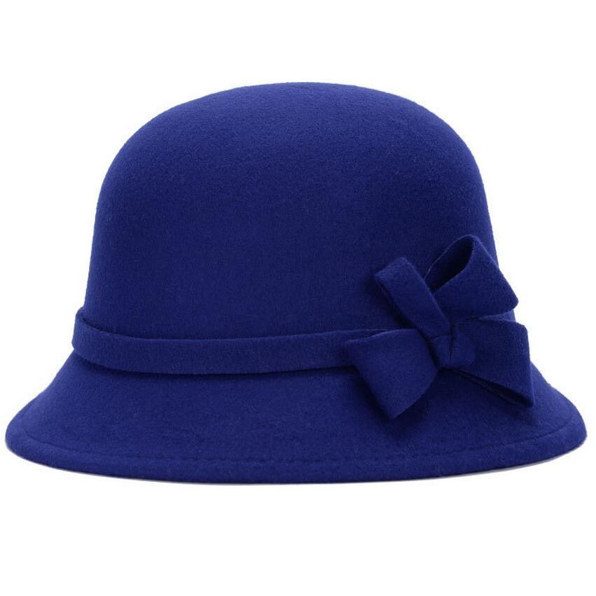 2016 Musim Gugur Musim Dingin Hangat Busana Kubah Topi wanita Wol Topi  Fedora Ibu Vintage Retro Bowler Fedoras Caps 77dd618e42