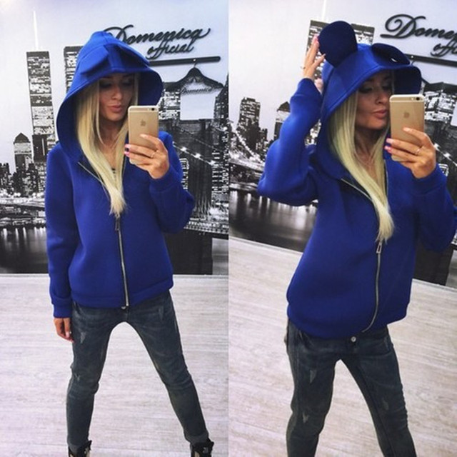 2016 Новых женщин куртки и пиджаки с Милой уши кролика с капюшоном молния пальто куртки осень-зима женщины пальто chaquetas mujer JT379