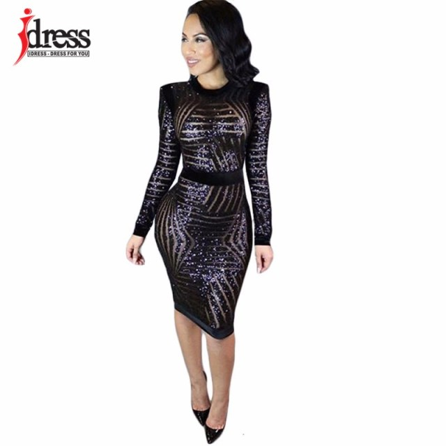 IDress 2017 Fashion Winter Women Dress Sexy Long Sleeve Black Sequin Night Club Bodycon Party Dresses Elegant Bandage Dresses (2)