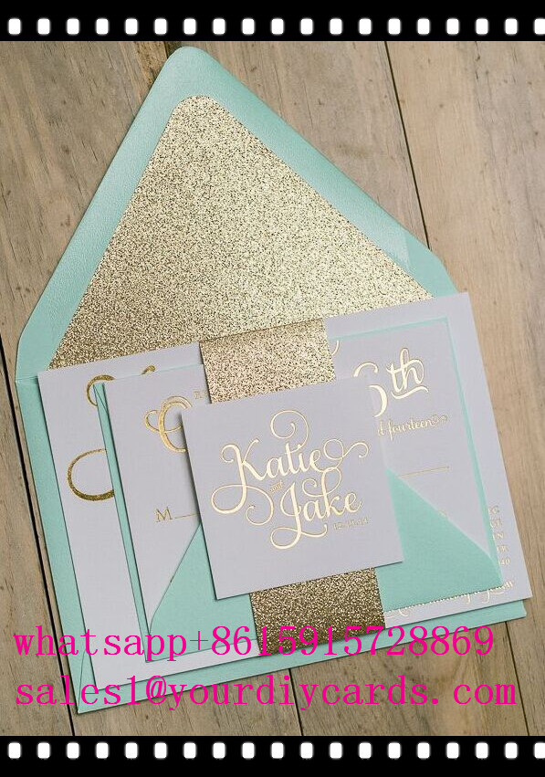 Inexpensive Mint Green Printed Lace Wedding Invites Ewi333