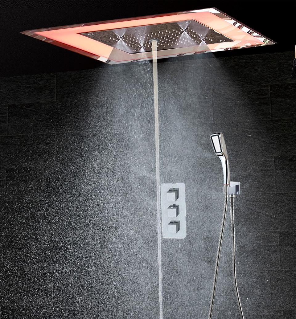 Luxury LED Thermostatic Bathroom Shower mixer Wall Mounted Bath ...