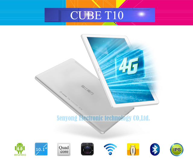 Original Cube T10 Dual 4G Phone Tablet PC 10.1'' IPS 1920x1200 Android 6.0 MT8783 Octa Core WCDMA Bluetooth Dual Camera 2GB/32GB