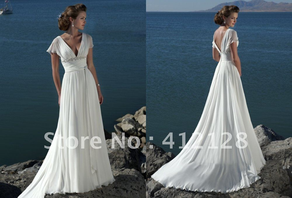 Be395 Hot Style Elegant V Neck Chiffon Beach Wedding
