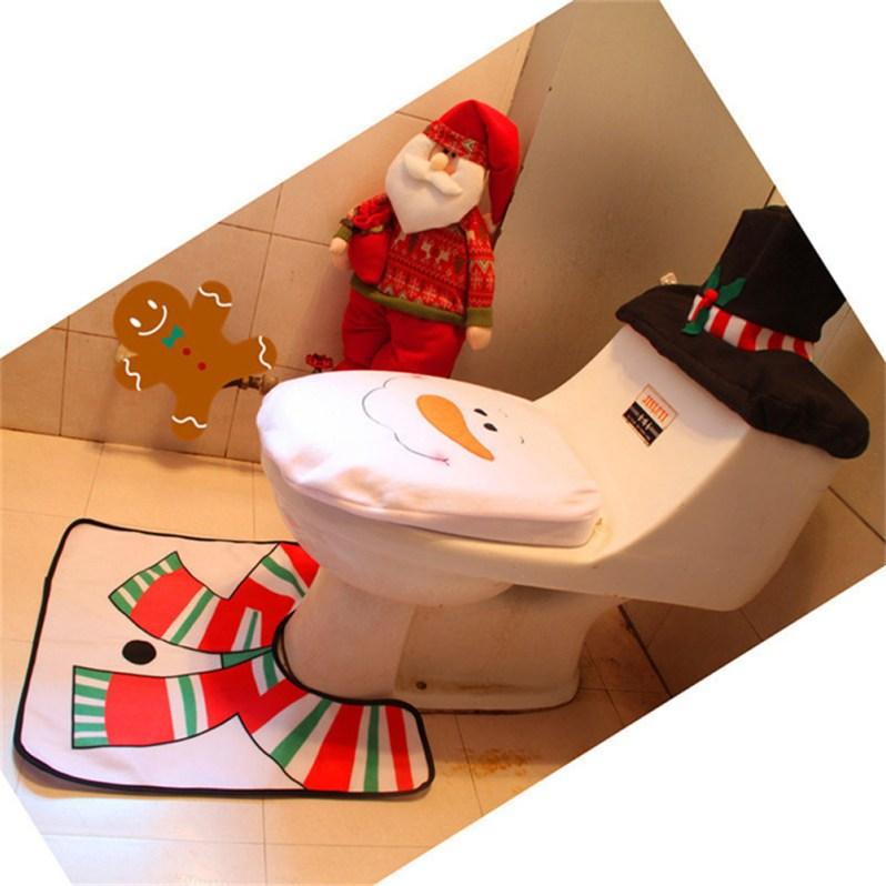 3 pcs Christmas Santa Toilet Seat Cover Rug Bathroom Set Decoration Rug Christmas Xmas Natal Navidad Decoration for Home