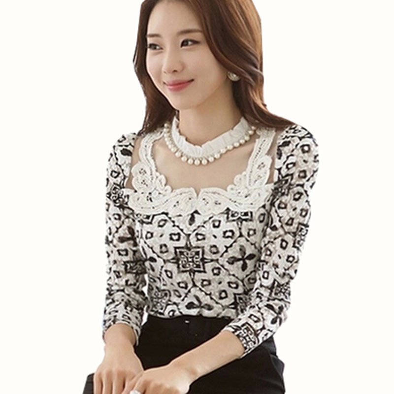 Women plus size long sleeved lace blouse work wear formal printed Slim Korean white chiffon shirt Plus Size Blouses For Work